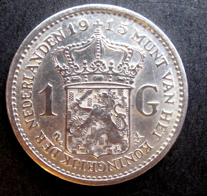 The Netherlands - 1 guilder, 1915, Wilhelmina - silver