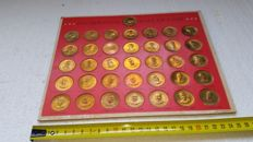 Collection of 36 bronze Franklin Mint presidential coins coin 1968
