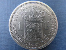 The Netherlands - 1 guilder 1910, Wilhelmina - silver