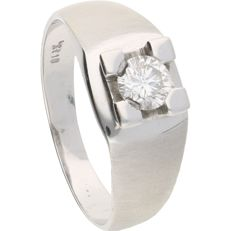 18 kt - White gold, partially matted ring set with a round, brilliant cut diamond of 0.44 ct