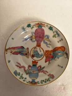 "famille rose hollow dish ""wu shuang pu"" in porcelain, decorated with characters and a poem - China - Daoguang (1820-1850)"