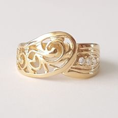 18 kt yellow gold openwork ring - size: 18.4 mm 18/58 (EU)
