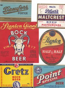 Collection of 94 old to very old USA beer labels