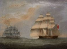A naval engagement between British and French navy frigates - 20th century