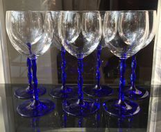 6 glasses made of crystal and fine Murano glass
