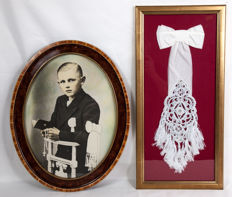 Nice Art Deco frame with a picture of a communicant and a frame with the embroidered cuff of a communicant, c. 1945.