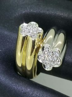 """Toi et moi"" diamond ring in 2 golds, 0.60 ct, 18 kt gold - size 56"