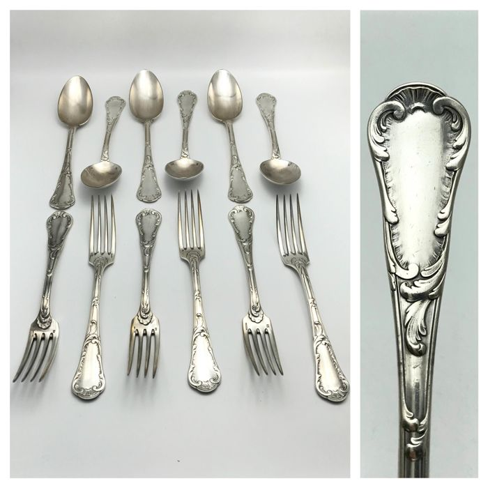 "Christofle - early ""Marly"" style pattern - set of 6 spoons & 6 forks - ca. 1875"