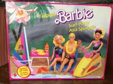 Various Barbie accessories and 2 Barbie's. From various years with box.