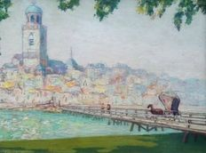 Unknown (1st half of the 20th century) - Pointillistisch stadgezicht op Deventer met brug over de IJssel vanaf de Worp rond 1920