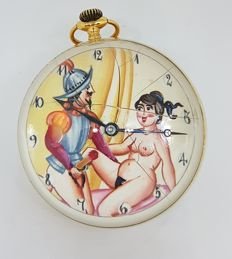 """Omega Paperweight / Ball Clock with sex scène: """"Spanish Conquistador with voluptuous nude woman- ca 1910"""