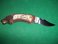 Franklin Mint Collectors Knife - Wolf Knife with Copper Wolf's Head - In Very Good Condition