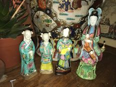 antique porcelain figures quanyin and warriors - China - 19th century