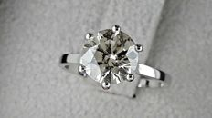 1.83 ct  round diamond ring made of 14 kt white gold - size 6