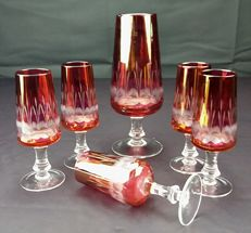 Set of five flutes and a pitcher without handle - pure Bohemian crystal