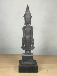 Bronze standing Buddha image - Laos- 2nd half/late 20th century (26 cm)