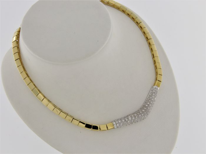 18 kt gold jewellery necklace with Diamonds - 43 cm.