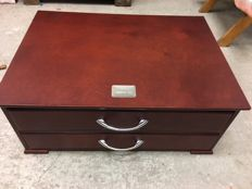 new mahogany case with 2 drawers for silverware, brand GERO.