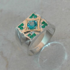 Emerald & Swiss Topaz Gold - Silver Ring