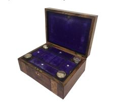 Vanity Tunbridge box inlaid with mother-of-pearl - mirror and glass antique bottles with silver lids - England - C. 1880