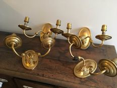 Set of 4 Brass Wall Lights with Ewe Decoration