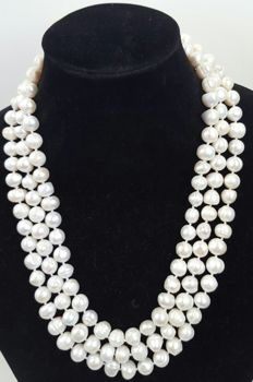 XL necklace with freshwater cultured pearls - Length: 180 cm