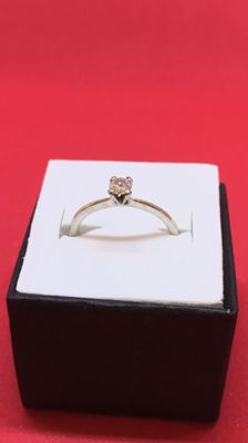 Solitaire - 18 kt white Gold ring with 0.22 ct brilliant cut Diamond  - Size 13 (IT)