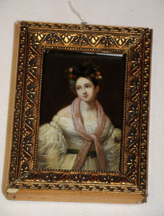 Great miniature painting - lid from Stobwasser tin - portrait of a lady - Germany - ca. 1820