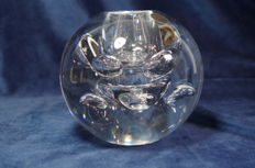 Leerdam Glas - heavy crystal serica vase with air bubbles