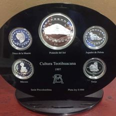"Mexico – 1 Coin of 5oz and 4 of 1oz – 1997 ""Série precolombina – cultura Teotihuacana"""