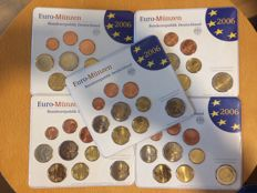 """Germany - year sets 2006, A, D, F, G, J, """"Schleswig Holstein"""", with 5x 2 euro Holzentor"""