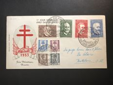 Belgium 1953 - FDC European Thought and the Fight against TB - OBP 927/929 and 930/937