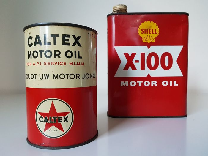 2 oil cans: Calltex (rare: with Dutch text) and Shell
