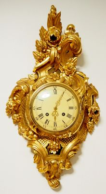 "LARGE Swedish ""WESTERSTRANDS"" Gold-plated hand carved Cartel wall clock in Rococo style - Middle of XX century"