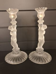 Baccarat, couple pressed glass candlebras putti
