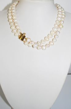 Necklace with 2 strands of cultured, fresh-water pearls, 7.5 mm, 925 silver
