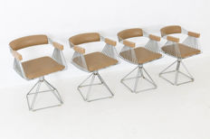 Rudi Verelst for Novalux - Four heavy wire frame swivel chairs