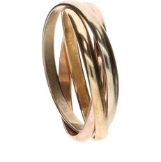14 kt Tricolour gold ring - Ring size: 17 mm