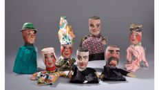 Lot of 7 handmade Guignol dolls made of carved wood - France