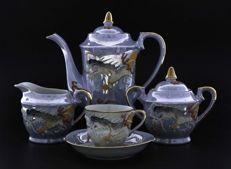 Kutani China, coffee service set for 6 people (15 pieces) porcelain