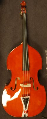New double bass 4/4 with bag, rosin and bow, nitro lacquer, flamed back