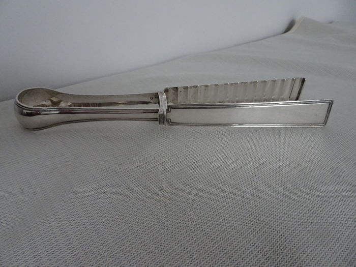 Large silver asparagus tongs, 1865