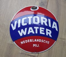Enamel advertising sign Victoria water - ca. 1950s