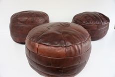 Manufacturer unknown - Set of 3 vintage patch work leather poufs