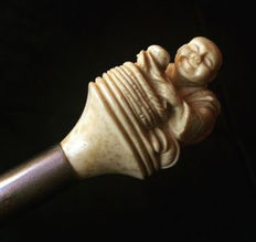 Walking stick with handle depicting Buddha, 1970