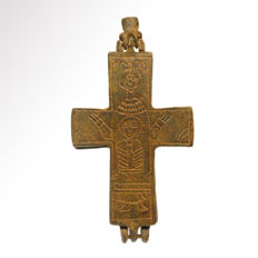 Byzantine Engraved Bronze Reliquary Cross, 10.4 cm L
