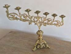 Antique candlestick in gilt bronze,  Italy, early 20th century