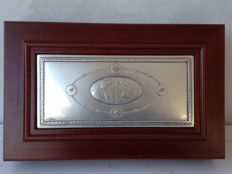 Wooden watch holder box with silver plate, signed by Castellani for Acca Made in Florence (Italy), 1990