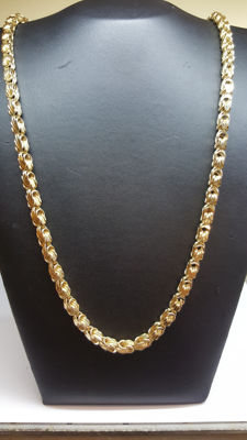 14 kt yellow gold king's braid link necklace, 65 cm, unique in its kind