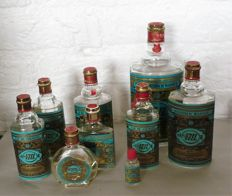 9 x vintage bottles of eau de cologne of 4711, some are (partially) still filled